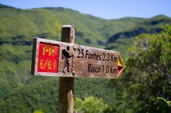 Sign with directions for levadas, Madeira, Portugal Royalty Free Stock Photography