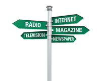 Sign Directions of Media Information Stock Image