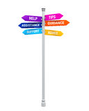 Sign Directions Support Help Tips Advice Guidance Assistance Stock Images