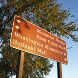 Sign with directions to landmarks in Washington, D.C., USA. Royalty Free Stock Photography
