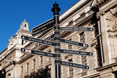 Sign with directions to London's landmarks Stock Images