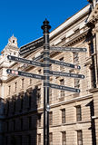 Sign with directions to London's landmarks Stock Image