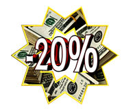 Sign Discount 20 percent sign. Closeup vector illustration
