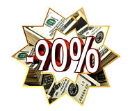 Sign Discount 90 percent sign. Closeup Royalty Free Stock Photography