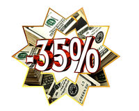 Sign Discount 35 percent sign Stock Photos