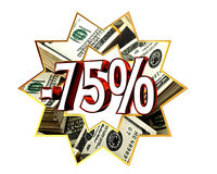 Sign Discount 75 percent sign. Closeup Stock Photography