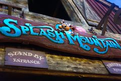 Disneyland Sign Ride Splash Mountain. Sign at Disneyland, California famous ride Pirates of the Caribbean stock photo