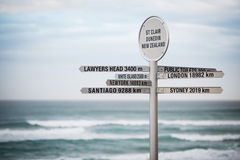 Sign with distances, Dunedin, New Zealand Stock Images