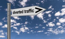 Sign for diverted traffic  Royalty Free Stock Photo