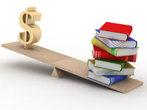 Sign dollar and the books on scales. 3D image Stock Photography
