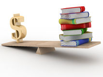 Sign dollar and the books on scales. 3D image Stock Images