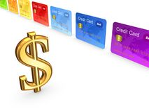 Sign of dollar and colorful credit cards. Royalty Free Stock Photos