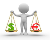 Sign dollar and euro. 3d people - man, person with sign dollar and euro Stock Photography