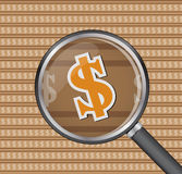 Sign dollar through magnifying glass on sign dollar background. Vector Royalty Free Stock Images