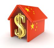 Sign of dollar under chinese flag. Royalty Free Stock Photos