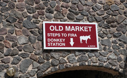 Sign for donkey station in Fira, Santorin, Greece Stock Photo