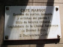 Sign at the door of the old and famous Café Margot Avenida Boedo tango neighborhood Buenos Aires Argentina Stock Photo