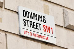 Sign on Downing Street in London. View of a Sign on Downing Street in London England Royalty Free Stock Photo