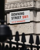 Sign on Downing Street in London. View of a Sign on Downing Street in London England Stock Photography