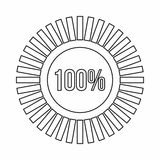 Sign 100 download icon, outline style Royalty Free Stock Images
