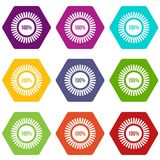 Sign 100 download icon set color hexahedron. Sign 100 download icon set many color hexahedron isolated on white vector illustration Stock Images