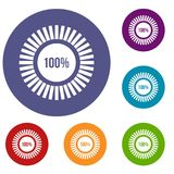 Sign 100 download icons set. In flat circle reb, blue and green color for web royalty free illustration