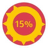 Sign download 15 percent icon, flat style. Sign download 15 percent icon. Flat illustration of web preloader vector icon for web design Royalty Free Stock Images