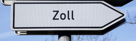 Sign duty, Zoll in German Stock Image