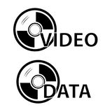Sign for DVD Video, Photo and Data, Isolated on White. Vector Sign for DVD Video, Photo and Data, Isolated on White