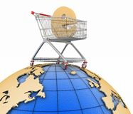 Sign of e-commerce  in a trolley on globe Royalty Free Stock Images