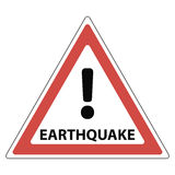 Sign of the earthquake, the red triangle exclamation mark and the text earthquake, Stock Photo
