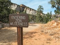 Entering Zion National Park wilderness area. Sign on the East Rim Trail, entering Zion wilderness Royalty Free Stock Image