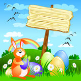 Sign with easter elements Stock Image