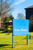 Sign for elderly people 'Care Home' at the entrance of a Suffolk Royalty Free Stock Images