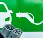 Sign at an electrical car recharging station royalty free stock photography