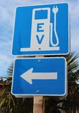 Electrical Vehicle Recharging Station. Sign for an electrical recharging station Royalty Free Stock Photos