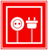 Sign of electricity in frame. Red technical sign of electricity in frame Stock Photography