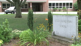 Sign for Elementary School. A view or scene from around town stock video footage