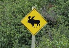 Sign elk crossing Stock Photos