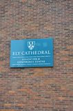 Sign for Ely Cathedral Conference centre. Ely  United Kingdom - 27 March 2017:  Sign for Ely Cathedral Conference centre Royalty Free Stock Image