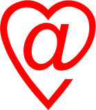 Sign email. The badge of e-mail executed as heart of red color on a white background Stock Illustration