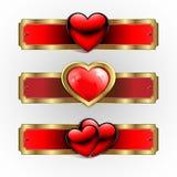 Sign, emblem with a red heart, set. Sign, emblem with red heart with glitter, with edging, set Stock Photography