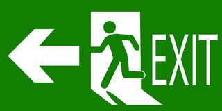 Sign of an emergency or fire exit. Green sign of an emergency or fire exit indicating the direction of movement. Vector illustration Royalty Free Stock Photography