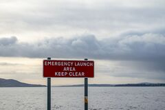 Free Sign Emergency Launch Area Keep Clear In Buncrana - Ireland Stock Image - 169702511