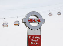Sign of Emirate Air Line, London Thames Cable Car. London , UK - May 26, 2013:  Sign of Emirate Air Line, Gondolas present, cable car system, opened June 2012 Royalty Free Stock Photos