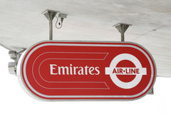 Sign of Emirate Air Line, London Thames Cable Car Stock Image