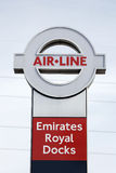Sign of Emirate Air Line, London Thames Cable Car. London , UK - May 26, 2013:  Sign of Emirate Air Line, cable car system, opened June 2012, run by TFL, links Stock Image