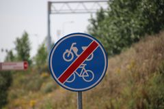 Sign on the end of cyclist and scooter lane in the Netherlands at Moordrecht.  stock photos