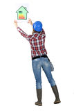 Sign of energy consumption. Woman laborer showing a sign of energy consumption royalty free stock image