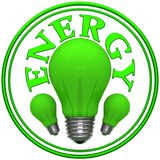 Sign energy with green bulbs Stock Photography